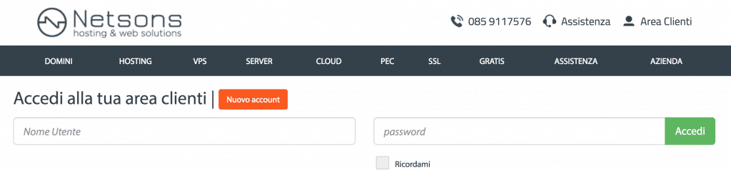 1 login 1024x239 - Come installare wordpress su provider netsons