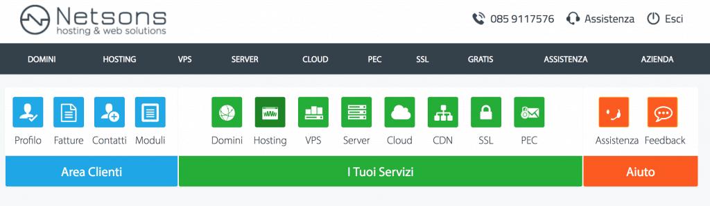 2 area clienti 1024x297 - Come installare wordpress su provider netsons