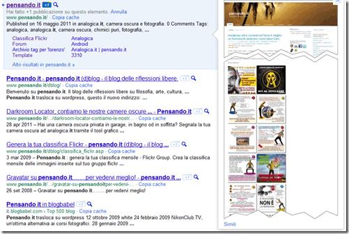 Google ha generato i sitelink per Pensando.it