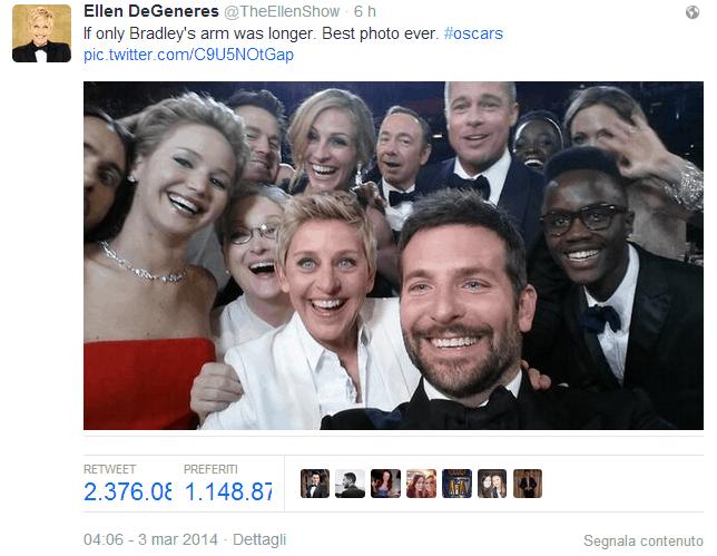 Il selfie dei divi di Hollywood