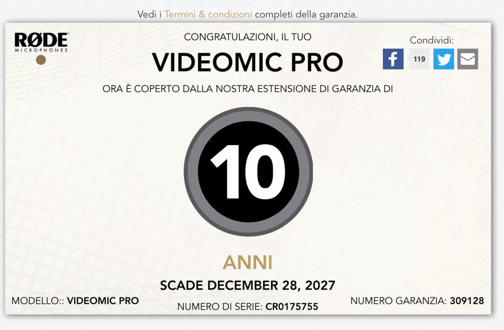 rode videomicpro garanzia 1024x670 - Rode VideoMic Pro: la video recensione