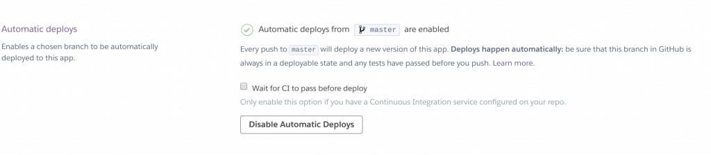 19 heroku enable automatic deploy 1024x224 - Deployare un'app node.js su Heroku in Continuous Integration con gitHub