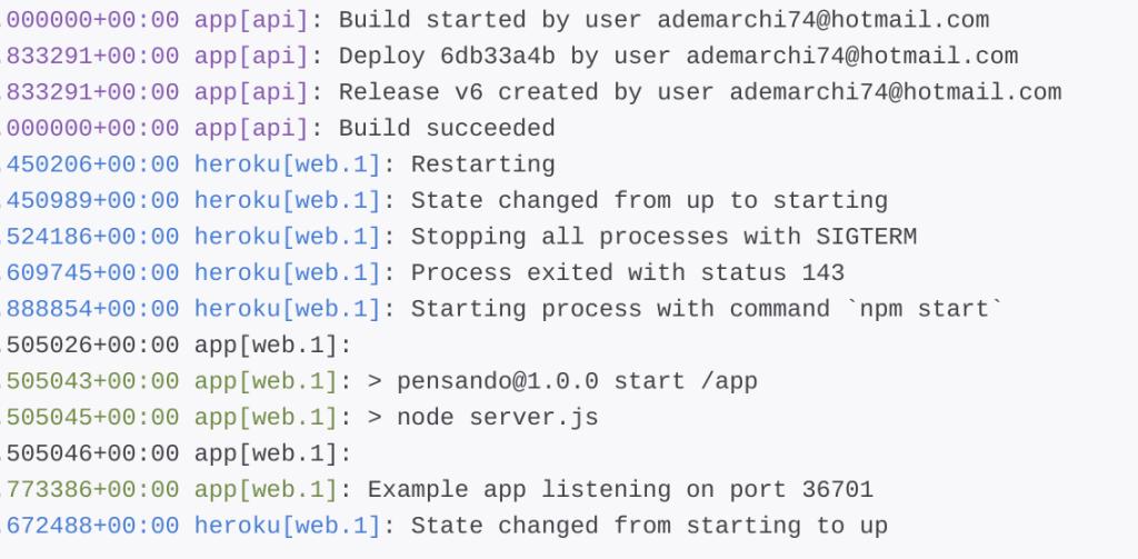 27 log deploy e1528024823827 1024x503 - Deployare un'app node.js su Heroku in Continuous Integration con gitHub