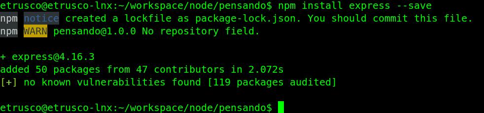 7 install express - Deployare un'app node.js su Heroku in Continuous Integration con gitHub