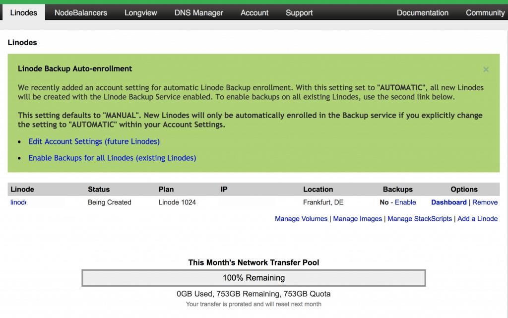 3 linode manager dash 1024x641 - Linode: Come creare un SSD Cloud Server Linux (con soli 5$)