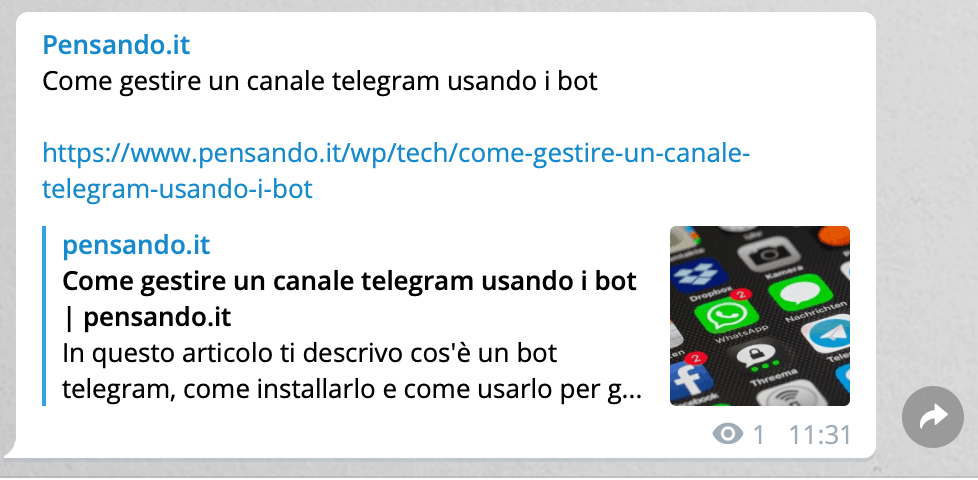 wordpress telegram 21 - Come integrare wordpress con un canale telegram